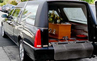 a casket inside a car